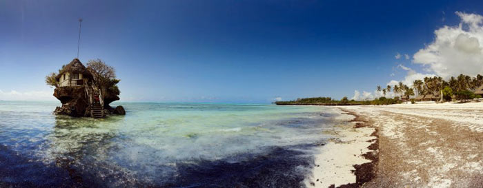 View of The Rock Restaurant in Zanzibar, East Africa from the beach