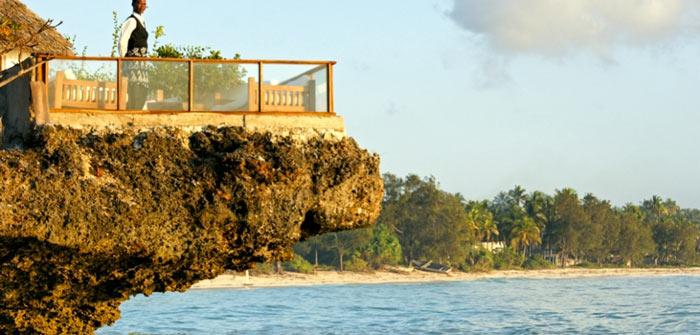 Patio terrace at The Rock Restaurant in Zanzibar