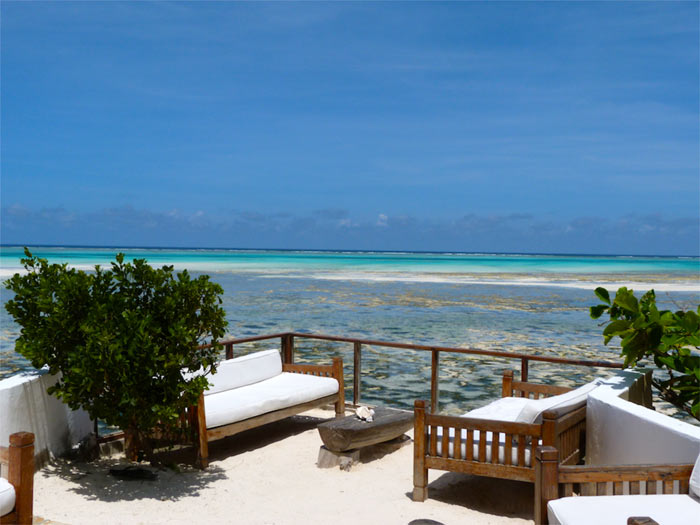 Terrace and view of the ocean from The Rock Restaurant in Zanzibar, East Africa