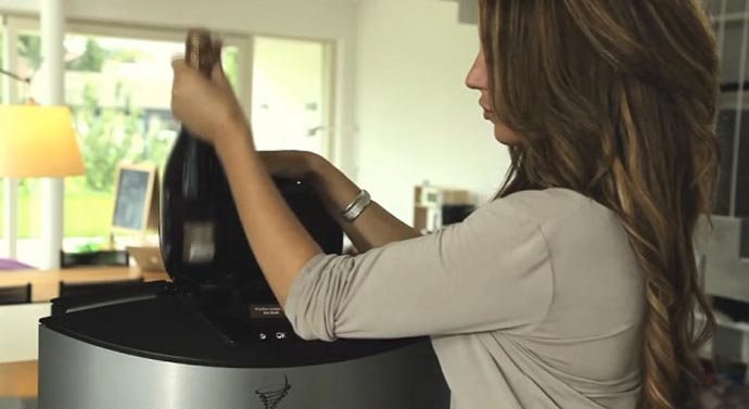 Woman operating the V-Tex drink chiller