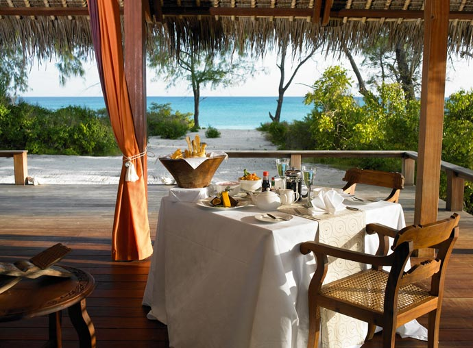 Dining table with a view of the sea
