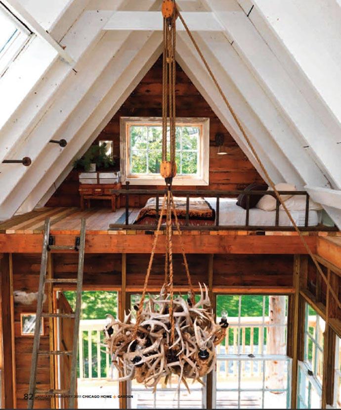 Wooden chandelier at Wandawega Lake Resort