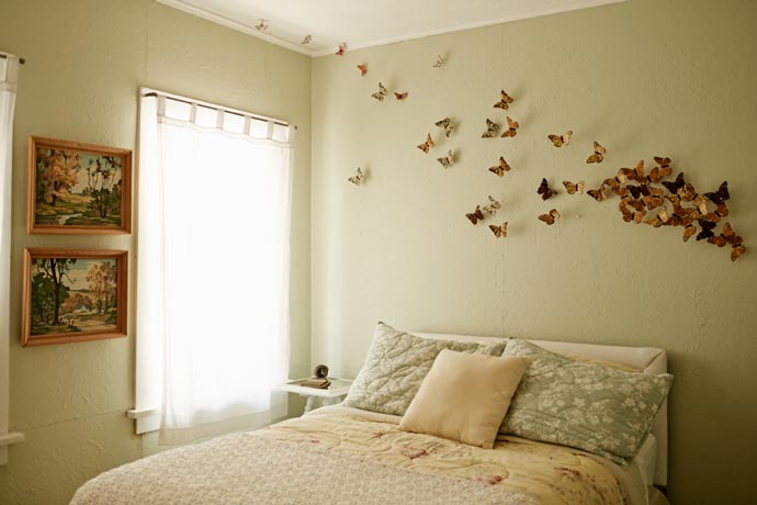 Butterflies on the wall in a bedroom