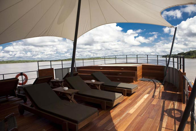 Deck of a cruise ship on the amazon