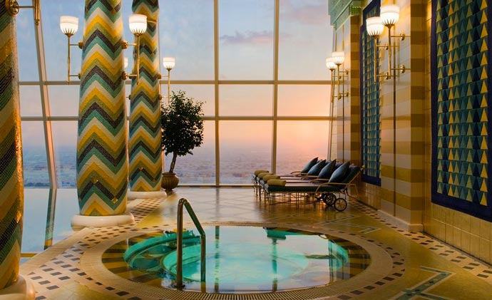 Indoor jacuzzi with a view of Dubai