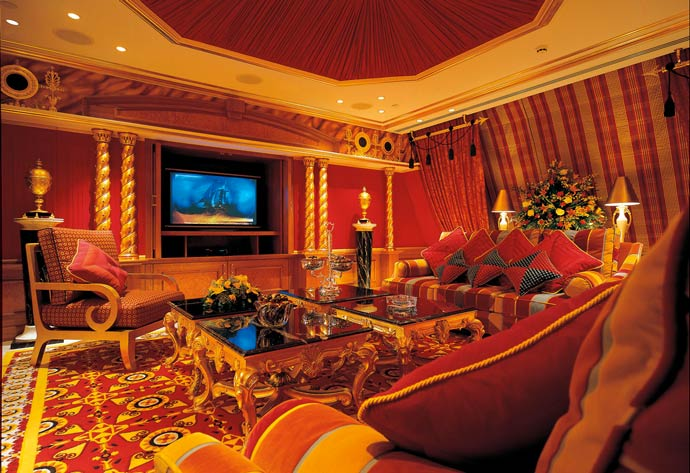 Burj al arab luxury hotel in dubai for Dubai hotel interior design