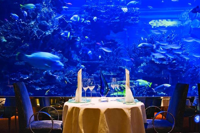 Underwater restaurant in Dubai at Burj al Arab