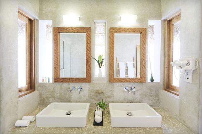 Bathroom design at Maafushivaru Island Resort