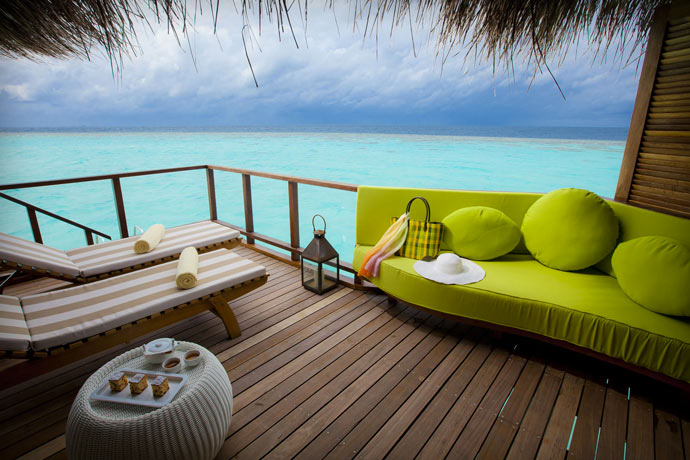 Terrace with ocean view at Maafushivaru Island Resort in the Maldives