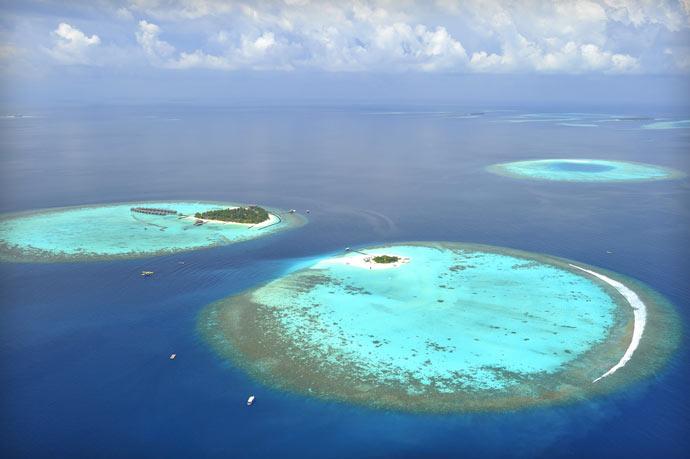 Aerial view of Maafushivaru Island Resort in the Maldives