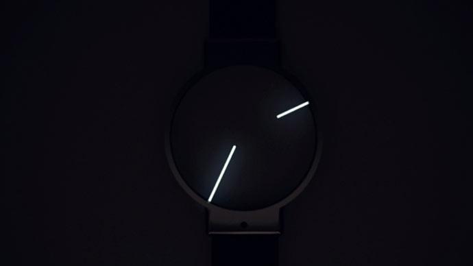 Glow in the dark minimalist analog watch