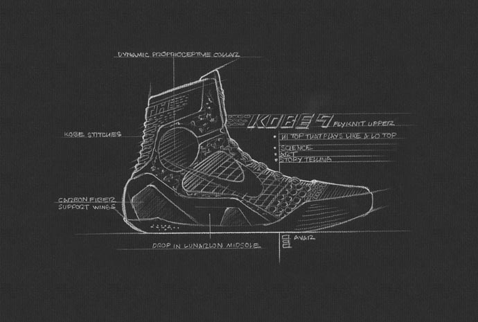 Drawing of the Nike Kobe 9 Elite Basketball Shoes