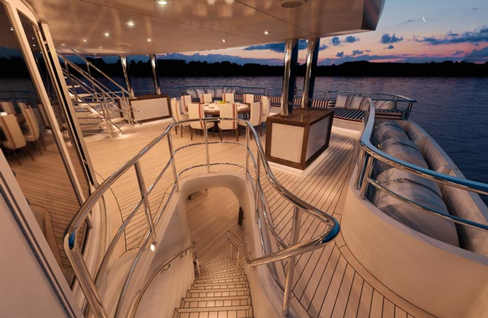 Deck of the Red Square Superyacht by Dunya Yachts