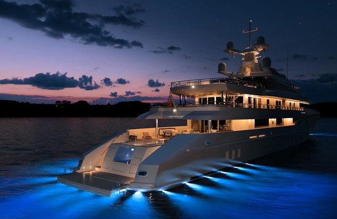 Red Square Superyacht illuminated with underwater lights