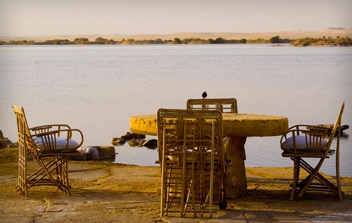 Outdoor restaurant at Adrere Amellal in Egypt