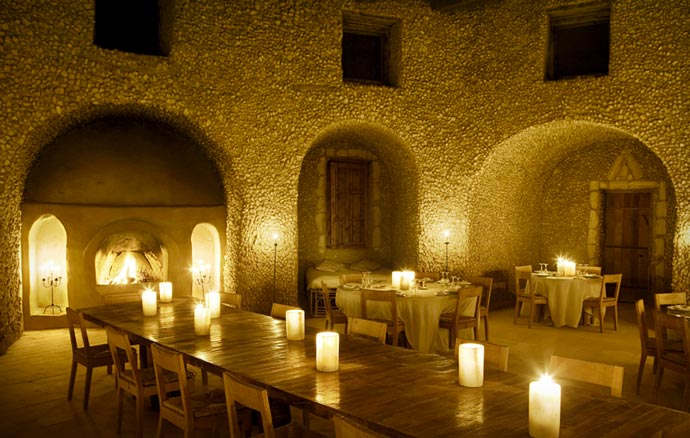 Restaurant at Adrere Amellal in Egypt