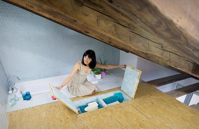 Space saving compartments at Didomestic Attic Apartment