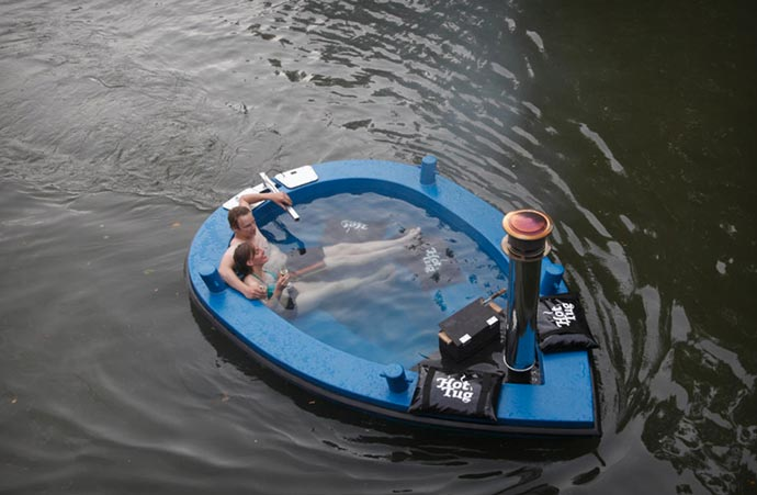 Hot Tub Boat being used on a river