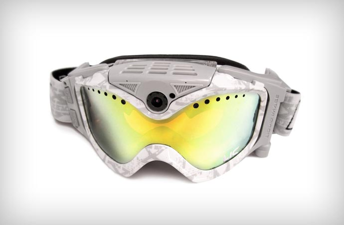 White Liquid Image Snow Goggles equipped with HD camera