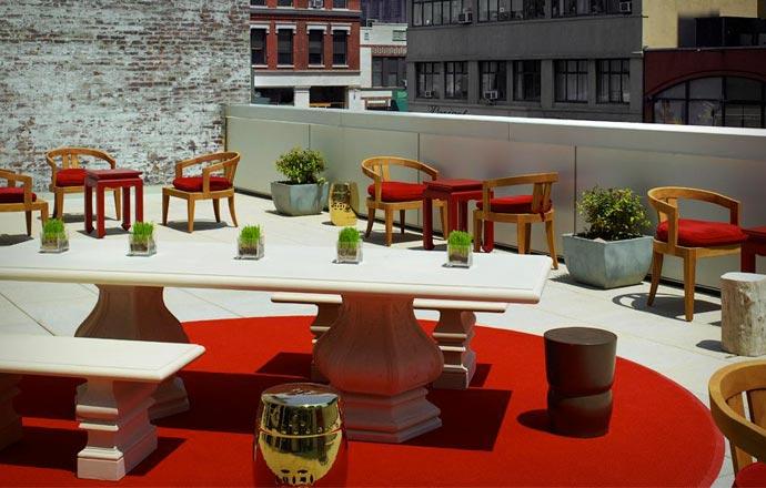 Rooftop terrace at Mondrian Soho in New York