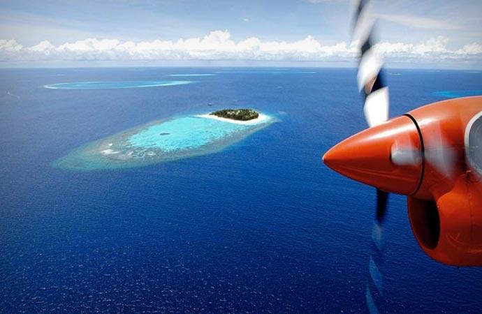 Plane taxi in the Maldives