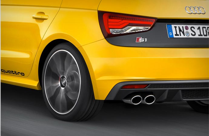Rear of the 2015 Audi S1 Quattro