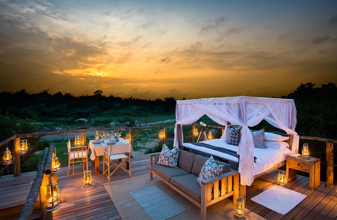 Treehouse bed at Lion Sands in South Africa