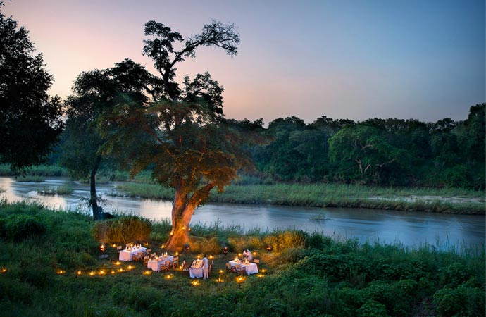Outdoor dining at Lion Sands in South Africa