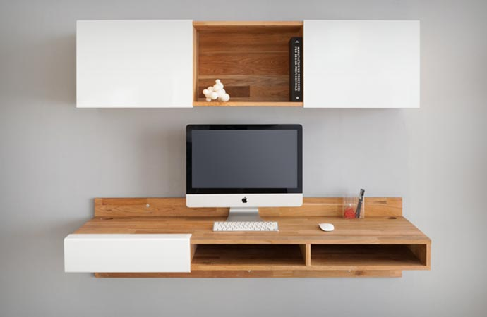 Wall mounted desk by mashstudios for Lax series wall mounted desk