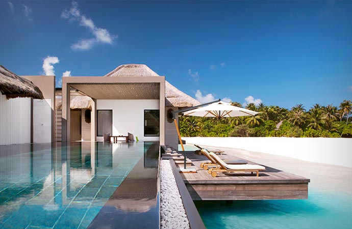Infinity pool at Cheval Blanc in the Maldives