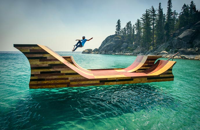 Skateboard ramp at Lake Tahoe