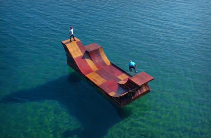 Floating skateboard ramp in Lake Tahoe