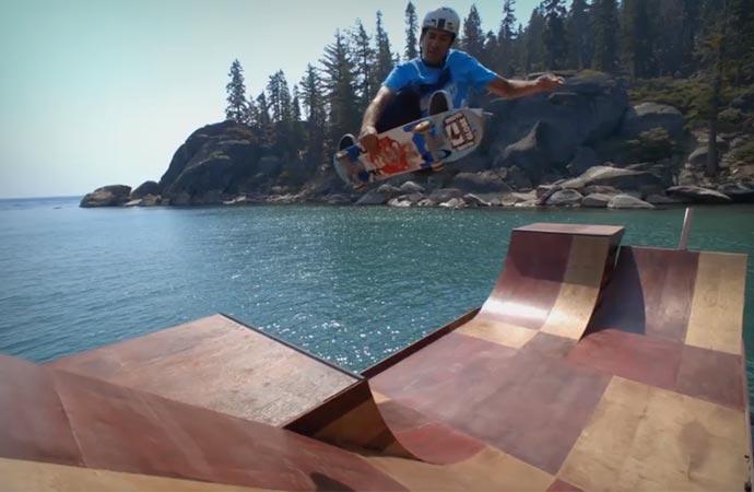 Floating skateboard ramp