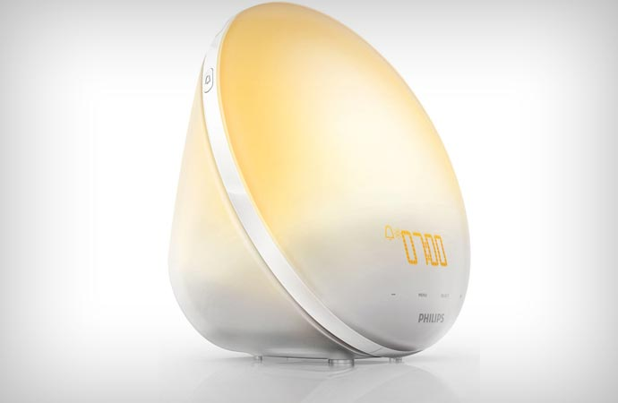 Philips wake-up alarm clock which simulates sunlight and dusk