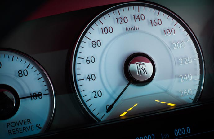 Speedometer in a Rolls Royce