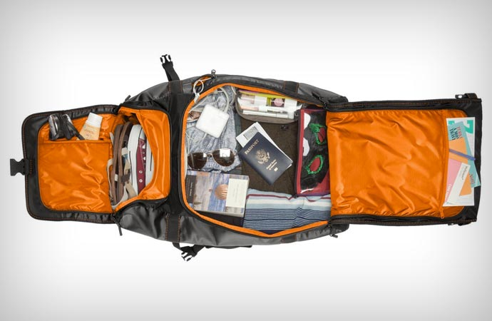 Spacious wheeled travel backpack
