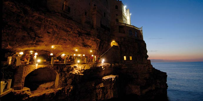 Grotta Palazzese restaurant at night