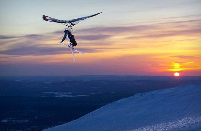 Kitewing and skiing