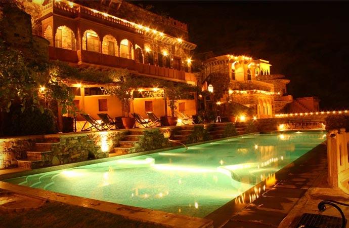 Neemrana Fort Palace at night