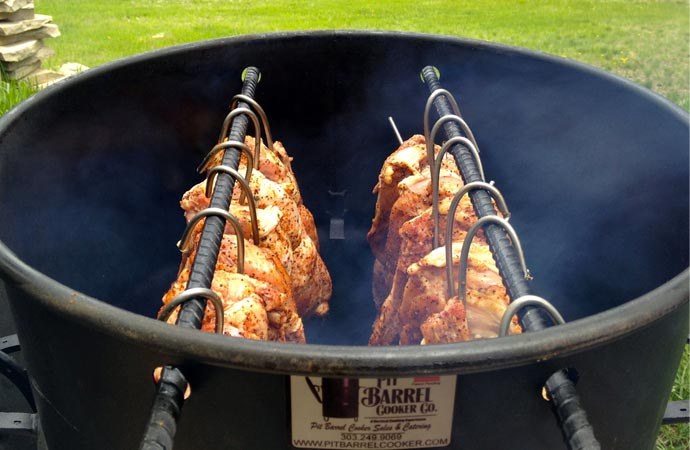 Chicken cooked in a pit barrel cooker