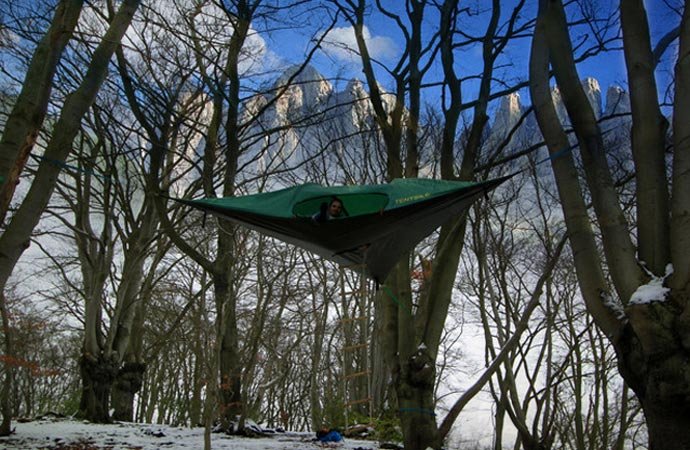 Tree tent during winter