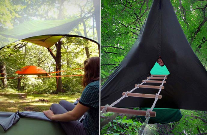 Tree tent inside and ladder