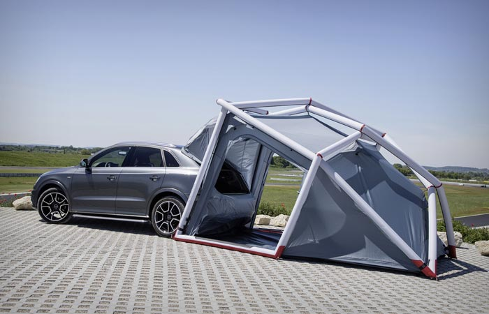 Tent attached to an Audi