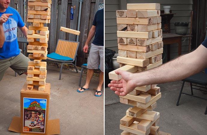 Backyard jenga game