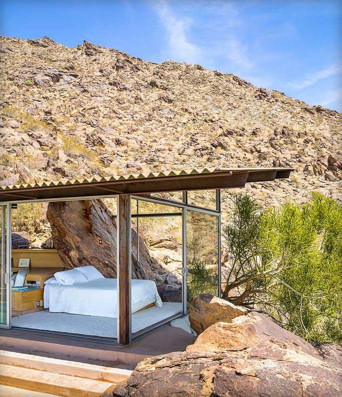 Bedroom with surrounding window walls