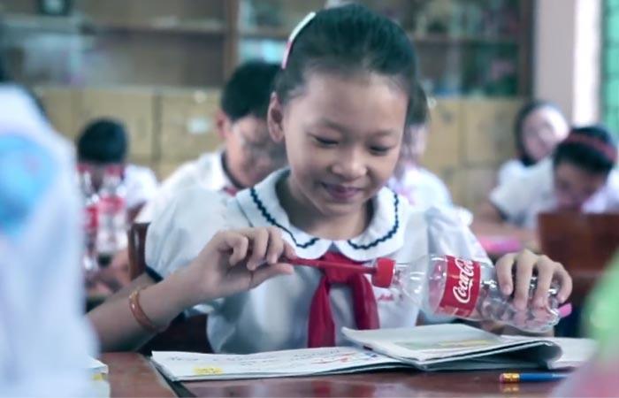 Pencil sharpener from a coca-cola bottle
