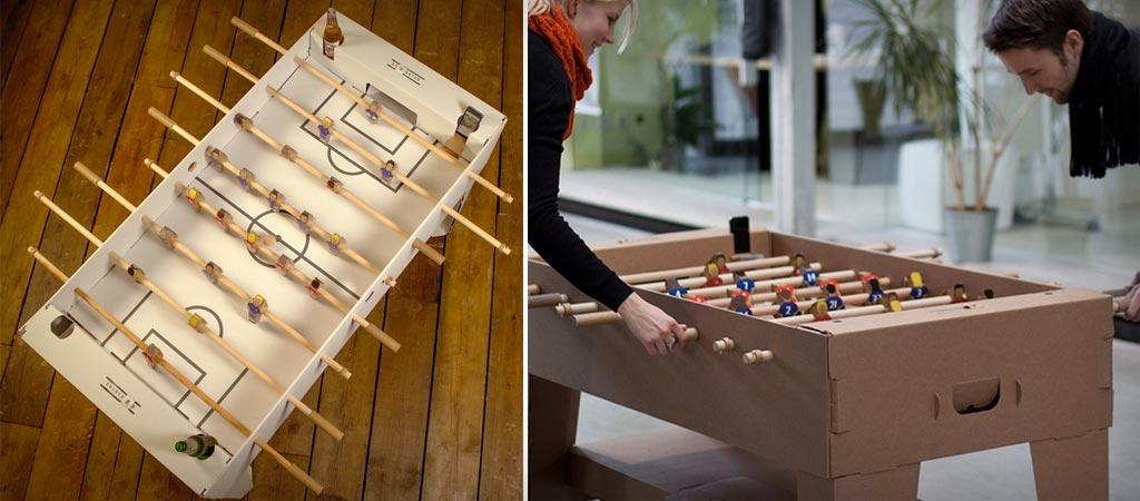Cardboard foosball table