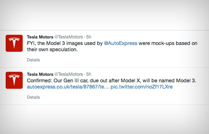 Tesla Model 3 tweet