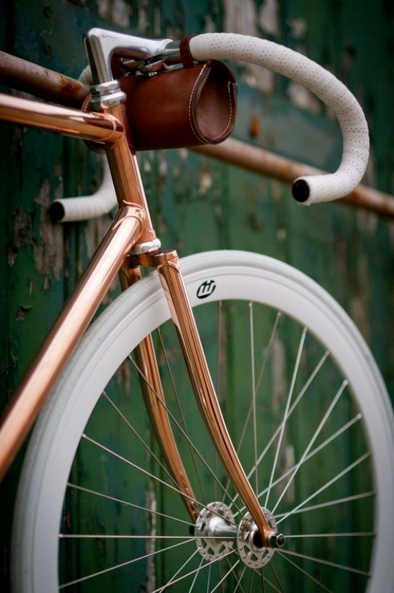 Vintage bicycle with modern white tires