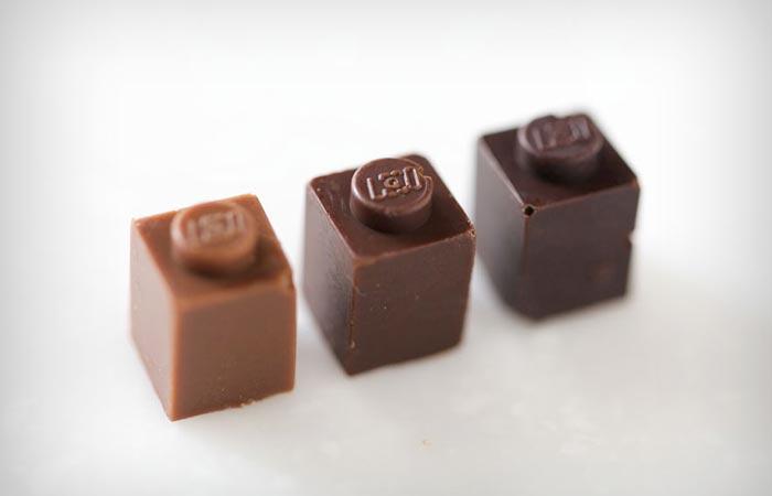 Edible chocolate lego pieces